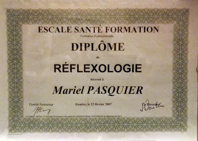 Diplôme réflexologie des écoles escale santé formation Genève
