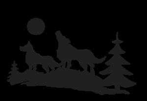 deux loups vectoriel